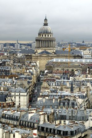 Paris`s view from the top of Notre Dame de Paris. Pantheon. photo