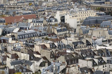 Paris`s view from the top of Notre Dame de Paris. The paris`s housetops. photo