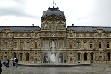 Inner yard of louvre with fountain. paris france Stock Photo - 2292190