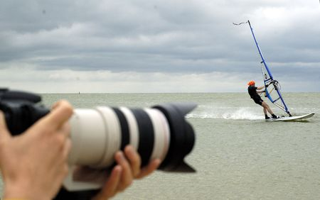 plucky: The photographer on the work. Azov Sea. Russia.
