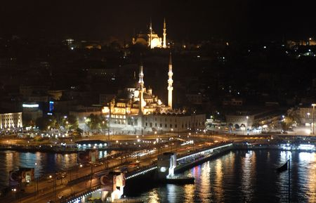 mosques at night in istanbul Turkey.