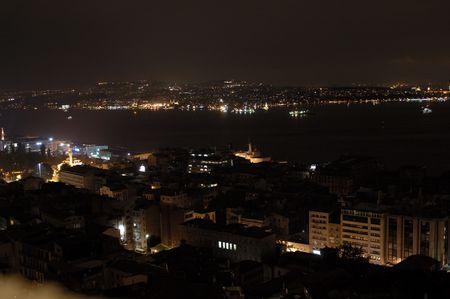 bosphorus strait at night in istanbul Turkey. photo