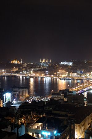 The topkapi palace hagia sophia blue mosque and golden horn creek at night in istanbul Turkey.