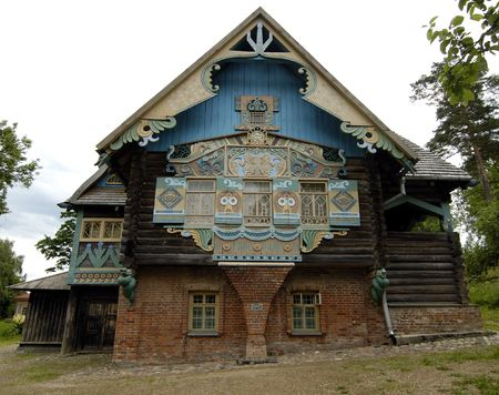 soviet: The russian house`s carving in Flyonovo, old russian village-museum. Smolensk, Russia.