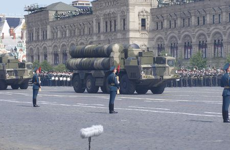 long range: Russian long range surface-to-air missile systems S-300. Moscow Victory Parade of 2008.