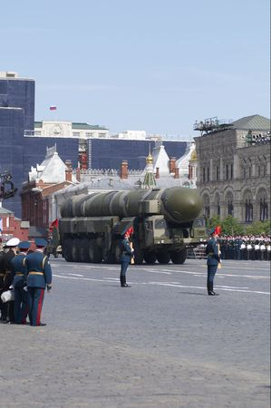 Mobile nuclear intercontinental ballistic missile RT-2PM Topol. Moscow Victory Parade of 2008.