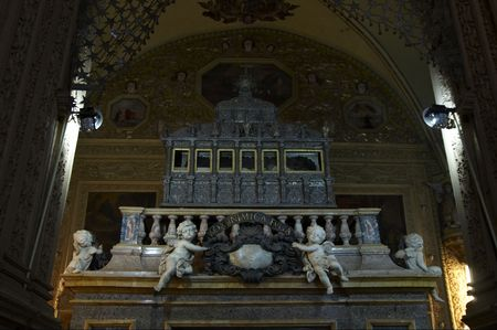 relics: Casket  with relics of St. Francis Xavier in the Basilica of Bom . Old Goa, India.  Stock Photo