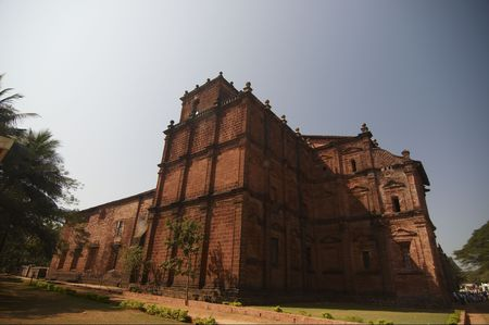 st  francis: The Basilica of Bom . It has relics of St. Francis Xavier. Old Goa, India.  Stock Photo