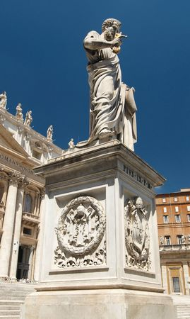 Statue of Saint Peter on Saint Peters Square. Rome, Italy.