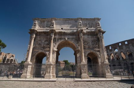 constantine: The ruins of Roman forum. Arch of Constantine. Rome, Italy. Stock Photo