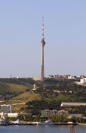 azerbaijan: TV tower on the hill. Baku, Azerbaijan.