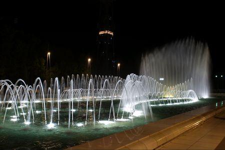 Museum of carpets at night in Baku. Azerbaijan. photo