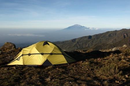 kilimanjaro: View from mount Kilimanjaro on a mount Meru near Arusha at sunrise. Tanzania. Stock Photo