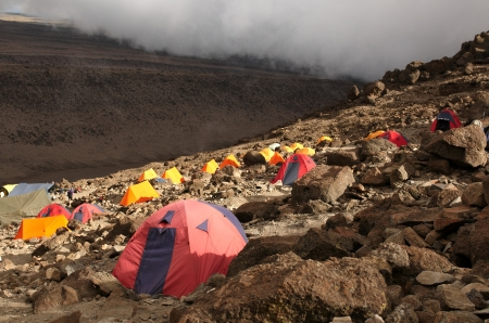 kilimanjaro: Barafu camp on Machame route. Mount Kilimanjaro, Tanzania.