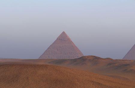 chephren: The great pyramid of Khafre (Chephren) near Cairo in Egypt at sunrise. Stock Photo