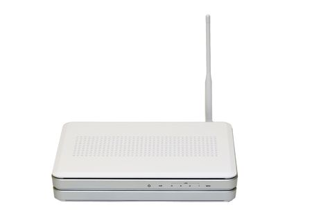 Internet wireless router isolated on white background photo