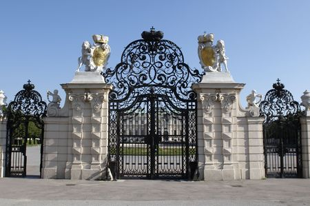 The Belvedere is a baroque palace complex built by Prince Eugene of Savoy. Entrance gate