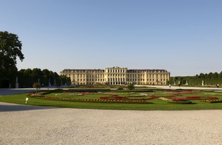 schonbrunn palace: Sunny day in Schonbrunn Palace. Vienna, Austria  Stock Photo