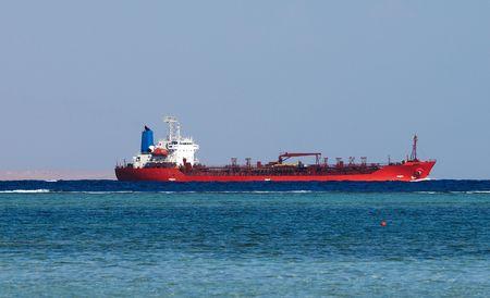 Big oil tanker in Red sea Stock Photo