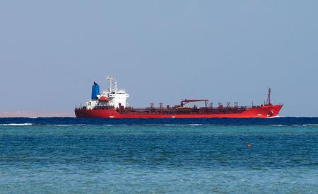 a big ship: Big oil tanker in Red sea Stock Photo