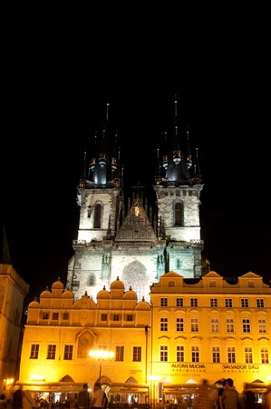 tyn: Church of Our Lady of Tyn in Prague at night