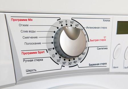 Washing machine program dial (russian) close-up photo