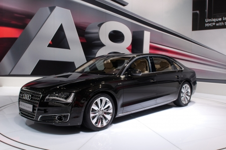 MOSCOW, RUSSIA - August 26: Moscow International Automobile Salon 2010. Audi A8 Long - russian premiere Editorial