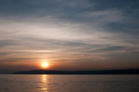 Sunset in Listvyanka - urban-type settlement on Lake Baikal