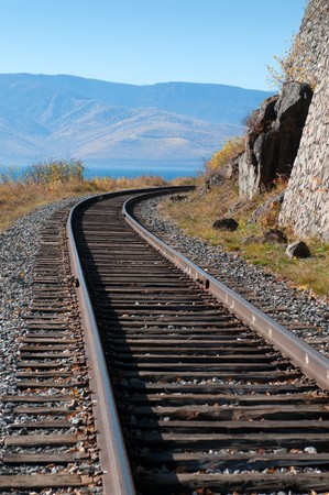The Circum-Baikal Railway - historical railway runs along Lake baikal in Irkutsk region of Russia Stock Photo - 8261200