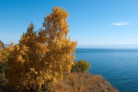 the deepest: Oto�o en lago Baikal - lago de agua dulce m�s antiguo, m�s profunda y m�s voluminosa del mundo  Foto de archivo