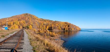 The Circum-Baikal Railway - historical railway runs along Lake baikal in Irkutsk region of Russia Stock Photo