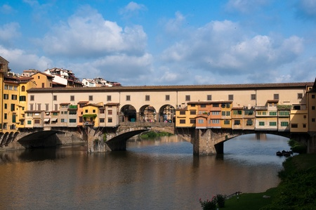 FLORENCE, ITALY - JUNE 2010. Crowds of tourists visit the Ponte Vecchio (