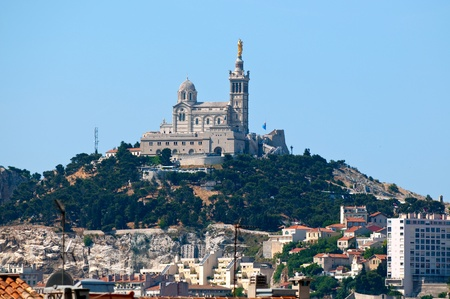 garde: View of Marseille and basilica Notre-Dame de la Garde. France.