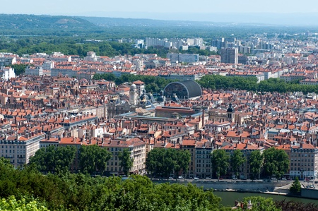 The panoramic aerial view at Lyon from Basilique de Fourviere hill. Lyon. France