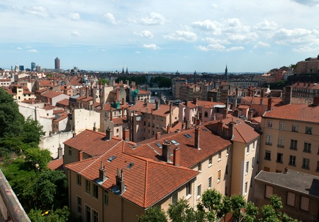 The panoramic aerial view at Lyon, France Stock Photo