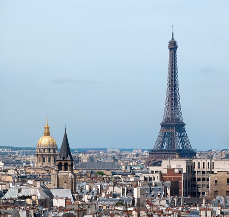 notre: Panorama of Paris from Notre Dame. Eiffel tower and Hotel des Invalides in the background. France