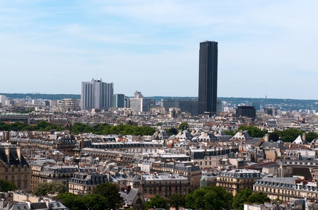 Panorama of Paris from Notre Dame. Monparnasse tower in the background. France Stock Photo