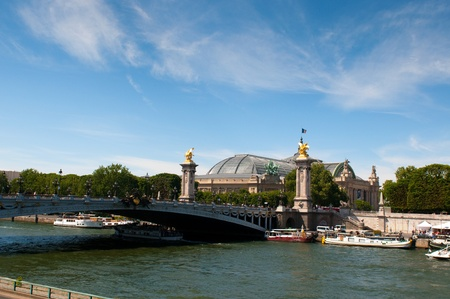 View on the Pont Alexandre III in Paris, a famous bridge over the Seine River Stock Photo - 9804227