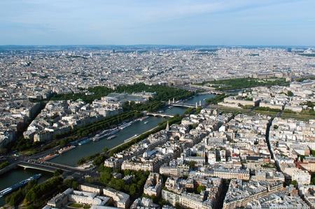 Luchtfoto uitzicht op de rivier de Seine en Parijs van de Eiffeltoren