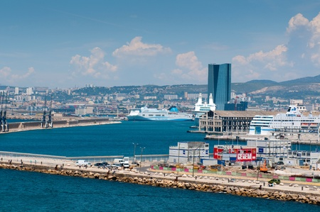 MARSEILLE, FRANCE - MAY 22, 2011: View on commercial port with big ferries on May 22, 2011, Marseille, France Stock Photo - 9707746