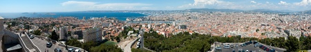 MARSEILLE, FRANCE - MAY 22, 2011: Panorama of Marseille from  Basilica Notre-Dame de la Garde on May 22, 2011, Marseille, France