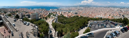 garde: MARSEILLE, FRANCE - MAY 22, 2011: Panorama of Marseille from  Basilica Notre-Dame de la Garde on May 22, 2011, Marseille, France