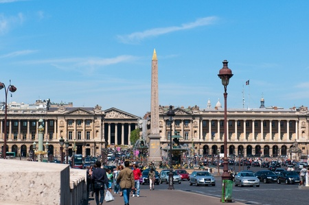 PARIS, FRANCE - MAY 28, 2011: Egyptian Obelisk in Place de la Concorde in Paris on May 28, 2011, France. 3,300-year-old obelisk was originally located at the entrance to the Luxor Temple, in Egypt