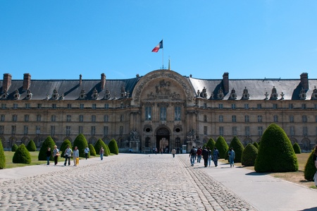 PARIS, FRANCE - MAY 28, 2011: Les Invalides hospital and chapel dome on May 28, 2011, France.