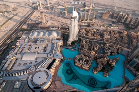 The Dubai Mall is the world s largest shopping mall and new modern hotel address at Downtown Burj Dubai  View from the lookout Burj Khalifa  United Arab Emirates