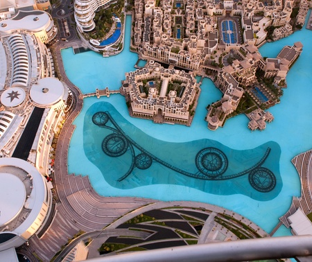 View on Dubai Fountain from the lookout Burj Khalifa  United Arab Emirates