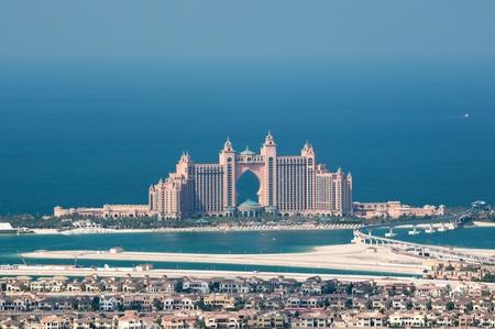 View on artificial island Palm Jumeirah and Atlantis hotel, Dubai, United Arab Emirates Editorial