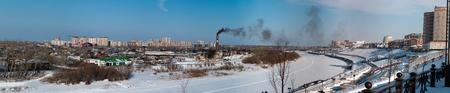 siberia: View of the Tyumen, Siberia, Russia.
