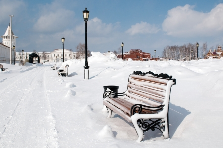 Bench in Kremlin complex in Tobolsk, a historic capital of Siberia, Russia Stock Photo - 13943538