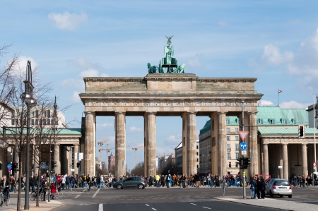 BERLIN, GERMANY - April, 14: The Brandenburger Tor (Brandenburg Gate) is the ancient gateway to Berlin, Germany